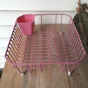 Vintage Retro Pink Kitchen Dish Drainer Rack